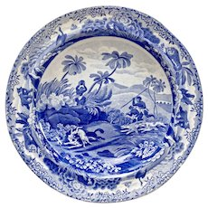 "Spode soup plate, blue and white transfer ""Chase After A Wolf"", 1815-1833"