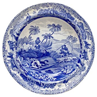 """Spode soup plate, blue and white transfer """"Chase After A Wolf"""", 1815-1833"""
