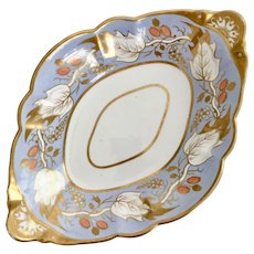 Spode dessert serving dish, periwinkle peach and gilt, 1810-1815