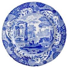 """Spode """"Italian"""" dinner plate, original blue & white transfer 1816-1833"""