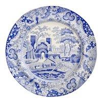 """Spode """"Castle"""" dinner plate, original blue & white transfer 1816-1833"""