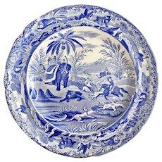 """Copeland & Garrett dinner plate, blue and white transfer """"Death Of The Bear"""", 1833-1847"""