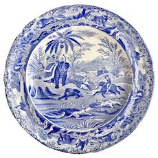 "Copeland & Garrett dinner plate, blue and white transfer ""Death Of The Bear"" 1833-1847"