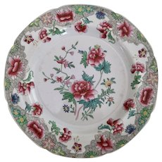 Spode stone china plate, Peony pattern 3125 with Ship Border, 1812-1833 (e)