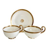 Swansea tea/coffee cup trio, Paris fluted white with gilt, ca 1820
