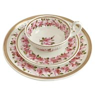 Swansea breakfast cup, saucer and plate, Paris fluted with Billingsley roses, ca 1820