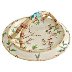 Wedgwood flat earthenware basket, Japonism ca 1880