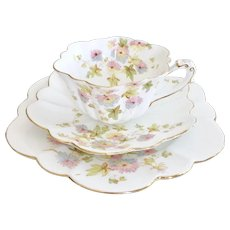 Wileman teacup trio, Chrysanthemum on Empire shape patt. 5701, 1896