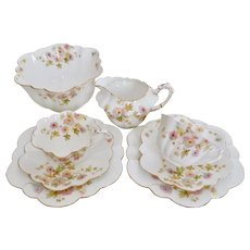 Wileman Tea-for-Two set, Chrysanthemum on Empire shape patt 5701, 1896