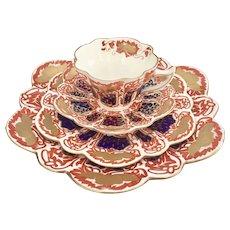 """Wileman antique teacup quartet, """"Japan"""" patt. 6988 on Snowdrop shape, 1898"""
