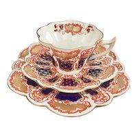 "Wileman teacup trio, ""Japan"" patt 6988 on Snowdrop shape, 1898"