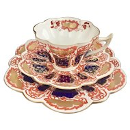 "Wileman teacup trio, ""Japan"" patt 6988 on Snowdrop shape, 1898"