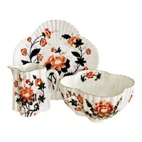 Wileman comport, milk jug and slop bowl, Japan Oriental Flowers patt 3532, 1882