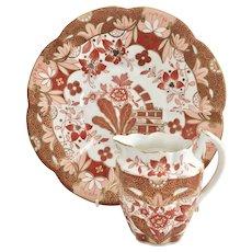 Wileman plate & creamer, Japan Oriental Flowers #4023 Lily shape, 1889