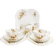 Wileman Tea for Two set, Gold Asters #3981 Alexandra shape, 1889