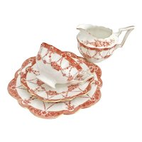 Wileman Tea for One set, patt.10057 red Floral Chains on Court shape, 1906