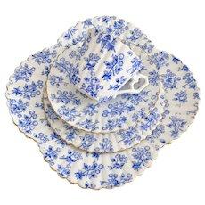 Rare Wileman teacup quartet, blue Thistle patt 4010 on Albert shape, 1889
