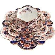 Charles Wileman teacup quartet, Japan Red & Blue patt. 6075 on Daisy shape, 1890