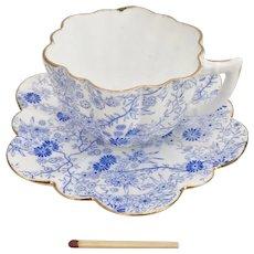 Wileman demitasse cup A/F, blue Jungle #4128 Daisy shape, 1890