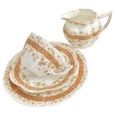 Wileman Tea for One set, Carnations & Floral #7246 New Fairy shape, 1900