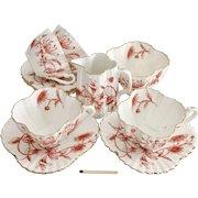 Charles Wileman tea set for four, demitasse Honeysuckle patt. 3756 on Alexandra shape, 1887