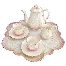 Wileman cabaret set, tete a tete, patt 6802 pink/beige daisies on Foley shape 1893