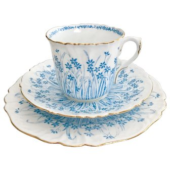 Charming Wileman teacup trio, turquoise Grass patt. 9804 on Foley shape, 1903