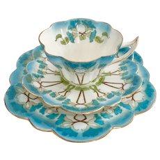 "Wileman teacup trio, turquoise ""Petunia"" patt 7069 on Snowdrop, 1900 (5)"