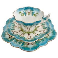 "Wileman teacup trio, turquoise ""Petunia"" patt. 7069 on Snowdrop, 1900 A/F"