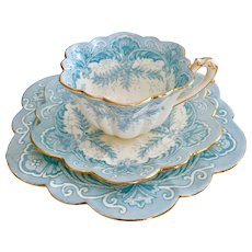 Wileman teacup trio, turquoise Fern and Border patt. 4980 on Empire shape , 1893