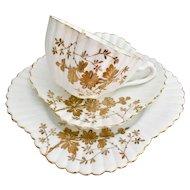 Antique Wileman English teacup trio, gilt Asters patt 3981 on Alexandra, 1889