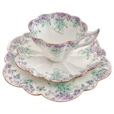 Wileman teacup trio, lilac & green Trailing Violets #9057 Snowdrop, 1895