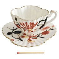 Wileman demitasse teacup, Japan Honeysuckle patt. 3766 on Alexandra, 1887