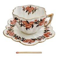"Wileman demitasse cup and saucer ""Daisy Wreaths"" patt. 6071 on Daisy shape, 1890"