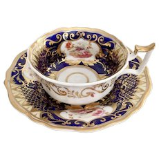 Yates teacup and saucer, Old English Fluted shape with flowers, ca 1825