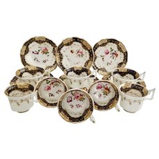 Yates part tea set, Chinese keys and flowers, ca 1825
