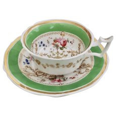Yates teacup and saucer, Old English Fluted shape apple green, 1820-1825