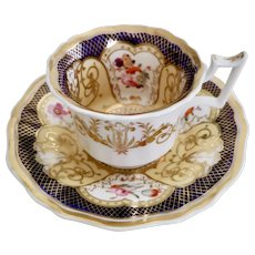Yates coffee cup and saucer, cobalt blue, gilt and flowers patt. 1033, 1820-1825