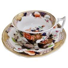 Yates teacup, Imari cornucopia and peonies, ca 1825