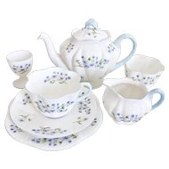 "Shelley ""Blue Rock"" bachelor's set, Dainty shape, ca 1940-1966"