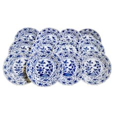 Set of 12 Chinese Export plates, pomegranate and fish, Yongzheng 1722-1735
