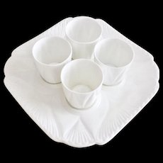 """Shelley """"Dainty White"""" set of 4 egg cups on tray, very rare"""