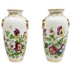Minton pair of vases, pansies by Jesse Smith, 1853