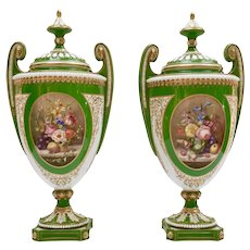 Pair of Royal Worcester vases, signed by William Hawkins, 1907