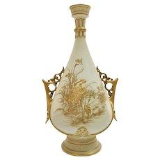 Royal Worcester vase, chased gilt stork by Thomas Morton, 1889