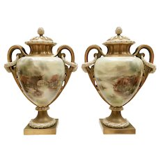 Important pair of Royal Worcester vases, Highland cattle by John Stinton, 1903