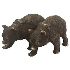 Antique Vienna Bronze Of 2 Attached Bear Cubs
