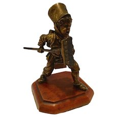 Antique Vienna Bronze Sculpture Of A Boy With A Broom
