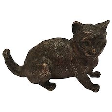 Antique Cold Painted Vienna Bronze Cat Marked Geschutzt