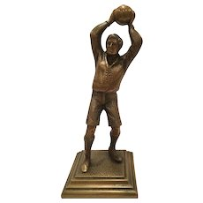 Vintage Bronze Sculpture Of A Soccer Player Holding Ball Over His Head